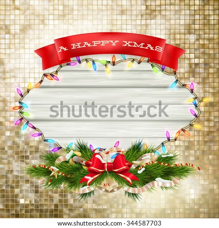 Christmas Branches with golden baubles, stars, snowflakes. EPS 10 vector file included - stock vector