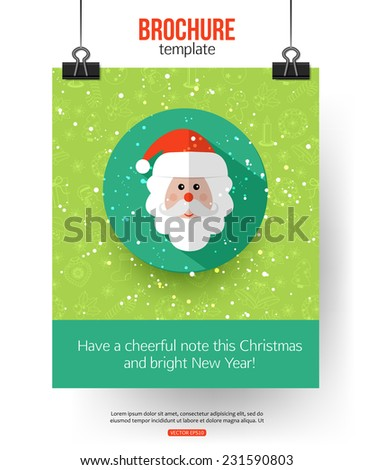Christmas brochure template. Abstract typographical flyer. Modern flat design. Vector illustration. - stock vector