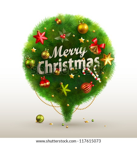Christmas Bubble for speech - fir tree. Vector illustration. - stock vector