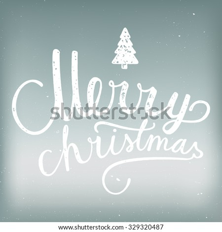 Christmas calligraphy label. vector handwriting - stock vector