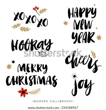 Christmas calligraphy phrases. XOXO. Happy New Year. Merry Christmas. Hooray. Cheers. Joy. Handwritten modern brush lettering. Hand drawn design elements. - stock vector
