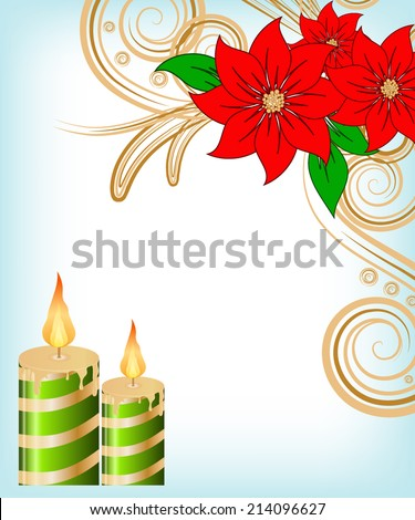 Christmas candle decorate card vector illustration - stock vector