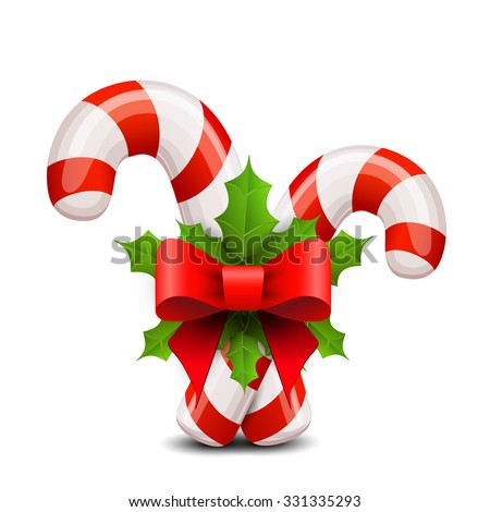 Christmas candy cane decorated with a bow and holly - stock vector