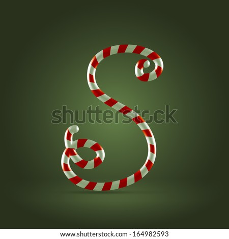 Christmas Candy cane traditional sweets abc capital letter S - stock vector