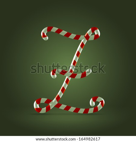 Christmas Candy cane traditional sweets abc capital letter Z - stock vector