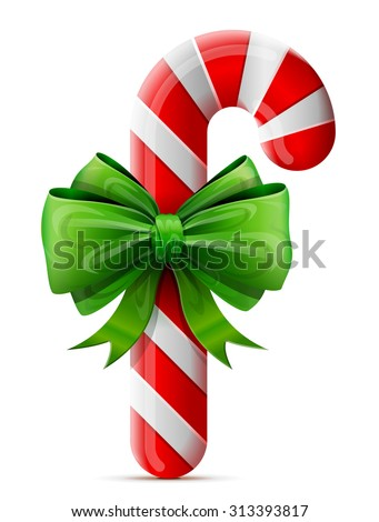 Christmas candy cane with bow. Striped holiday candy stick decorated ribbon. Vector design element for christmas, new year's day, winter holiday, dessert, new year's eve, food, silvester, etc - stock vector