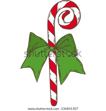 Christmas candy cane with green bow - stock vector