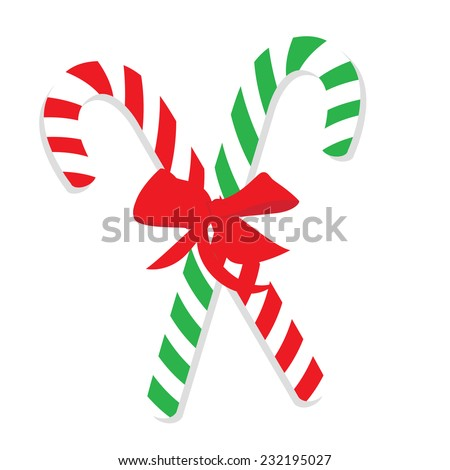 Christmas cane, christmas candy, christmas stick, red and green candy - stock vector