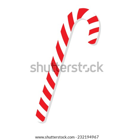 Christmas cane, christmas candy, christmas stick, red candy - stock vector