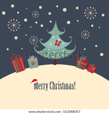 Christmas Card A Christmas card with a simple design style. - stock vector