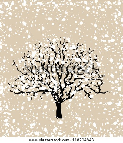 Christmas card, a tree covered with snow - stock vector