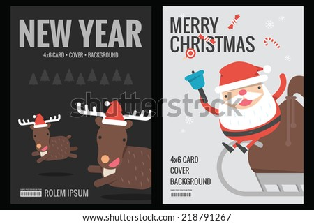 Christmas card - background flat design, vector - stock vector