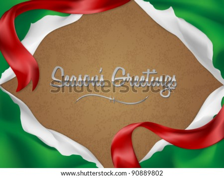 Christmas card/background with torn giftwrap - stock vector
