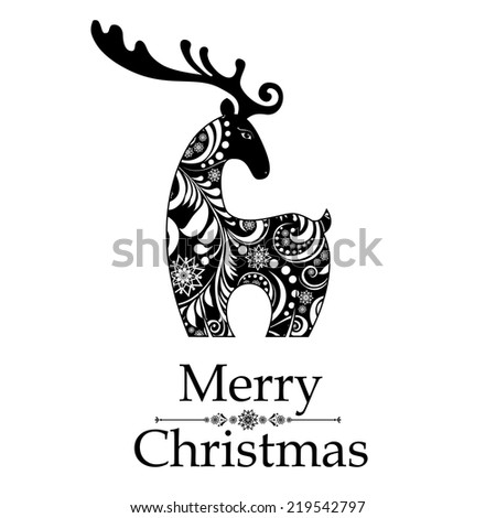 Christmas card. Celebration background with gift deer and place for your text. vector illustration  - stock vector
