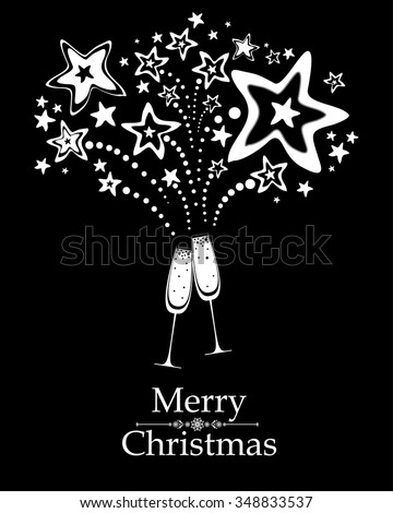 Christmas card. Celebration black background with Two Glasses of champagne, firework and place for your text. Vector illustration  - stock vector