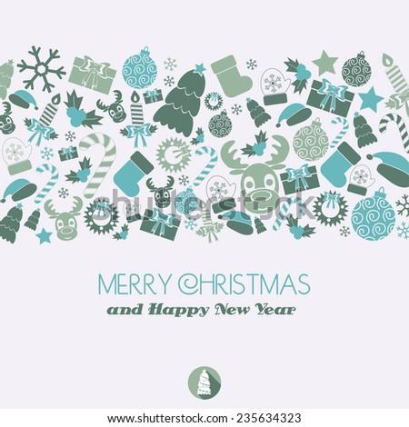 Christmas card. Christmas elements. vector illustration - stock vector