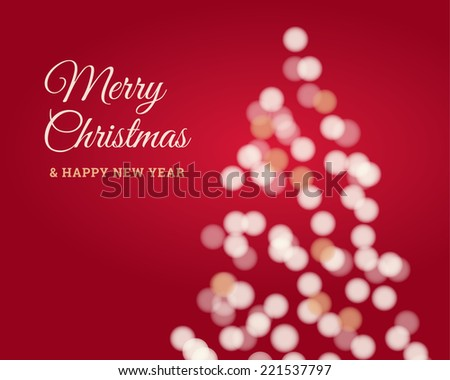 Christmas card, christmas tree glitter, twinkled bright, red background - stock vector