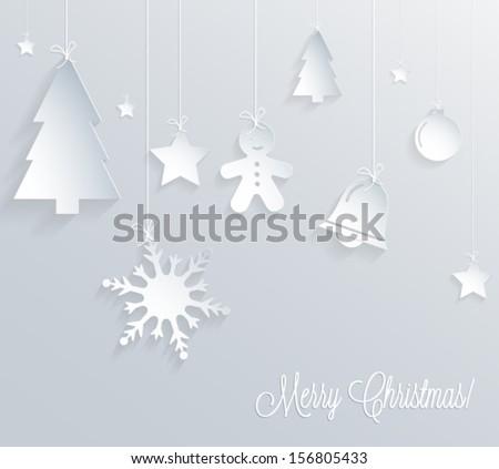 Christmas card. 3d paper design. Vector eps10. - stock vector