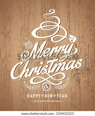 christmas card design on wood texture background - stock vector