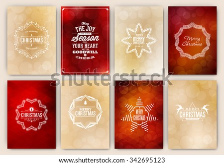 Christmas Card Design Set - Collection of Elegant Stylish Greetings with Typographic Elements - stock vector