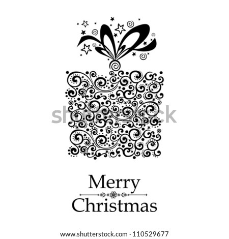 Christmas card. Gift box with ribbon isolated on White background. Vector illustration - stock vector