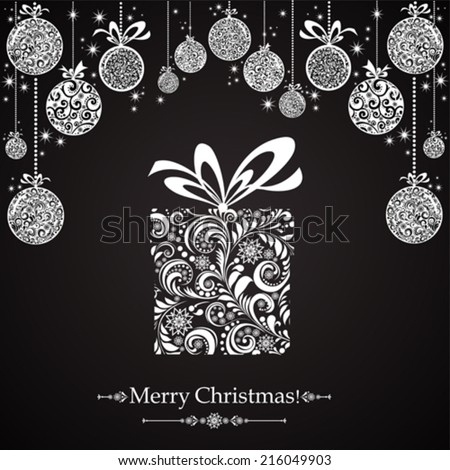 Christmas card.  Gift box with ribbon. Vector illustration  - stock vector