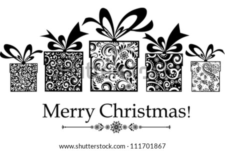 Christmas card. gifts box with ribbon. Vector Illustration - stock vector