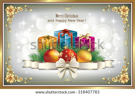 Christmas card in a frame with an ornament - stock vector