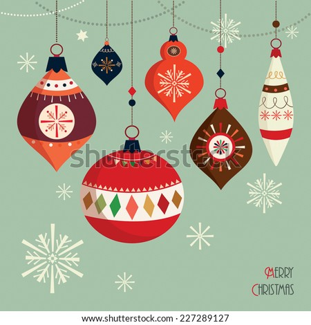 Christmas Card Retro Christmas card with Christmas balls - stock vector