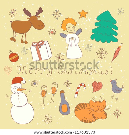 Christmas card. Set of vector design elements. - stock vector
