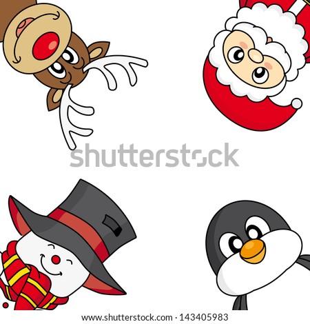 Christmas card. snowman, reindeer, penguin and santa - stock vector