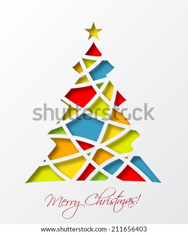 Christmas card template with colored christmas tree and star. Vector illustration. - stock vector
