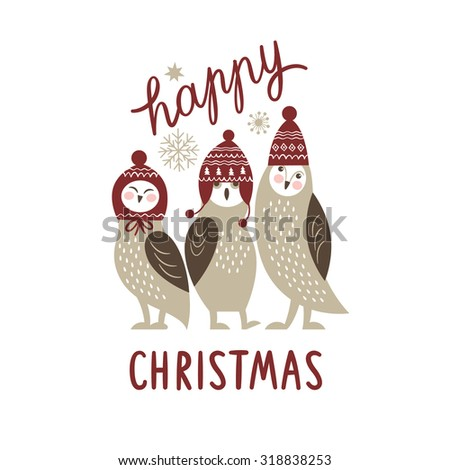 Christmas card, three cute owls - stock vector