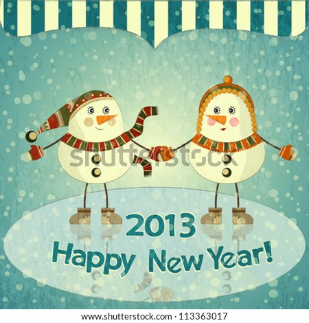 Christmas card - Two snowmen on ice - postcard in retro style - vector illustration - stock vector