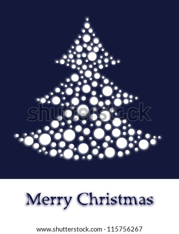 Christmas card vector, stylized Christmas tree for design - stock vector