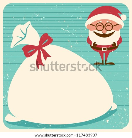 Christmas Card 3: Vintage Christmas card with Santa Claus. Place your text on his sack.   No transparency and gradients used. - stock vector