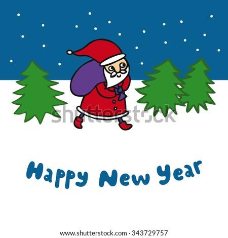 christmas card wih walking santa. happy new year card - stock vector