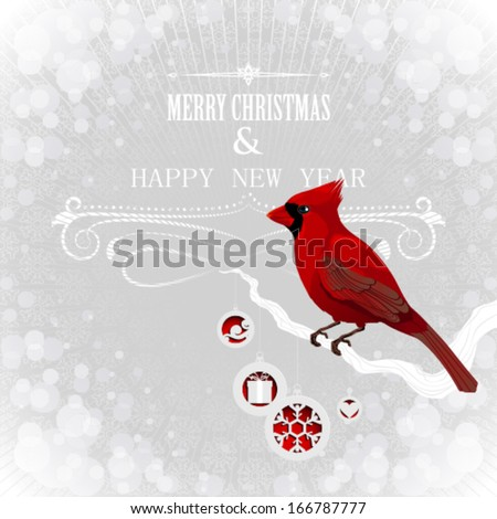 Christmas card wit cardinal - stock vector