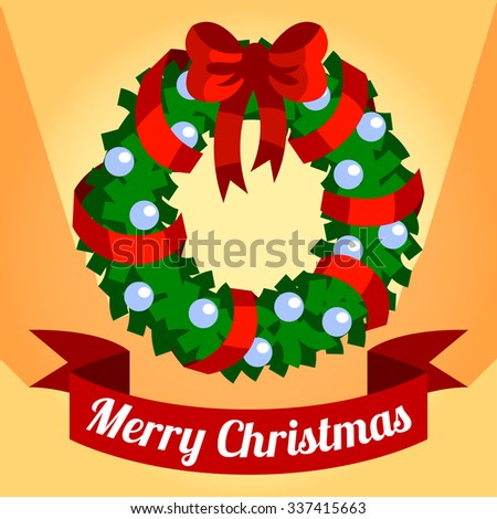Christmas card with a Christmas wreath on orange background - stock vector