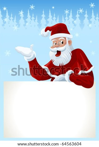 Christmas Card with a congratulation of Santa Claus. - stock vector