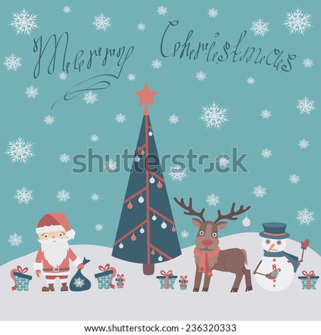 Christmas card with a deer, a Santa Claus, a snowman around a fir-tree in flat design. Vector illustration.  - stock vector