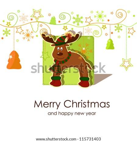 Christmas card with a fawn - stock vector