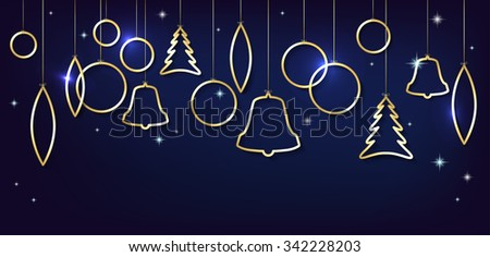 Christmas card with abstract shiny golden christmas balls, stars and place for your text - vector illustration - stock vector