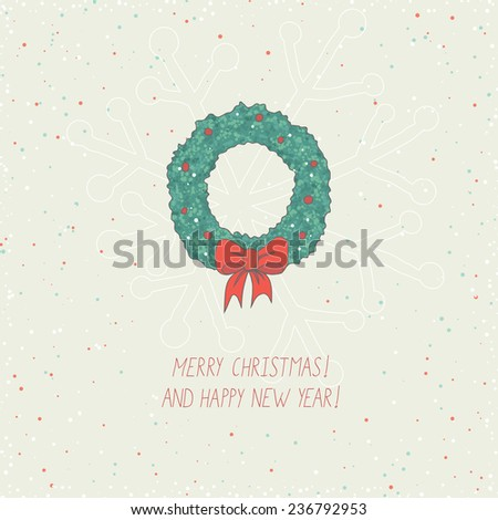 christmas card with advent crown and snow - stock vector