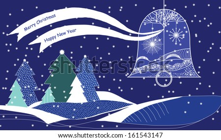 Christmas Card with Bell with Ribbons above Snowy Landscape - stock vector