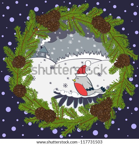 Christmas card with bird in a red hat, cozy cartoon houses, forest and snowflakes in the christmas wreath. Vector illustration. - stock vector