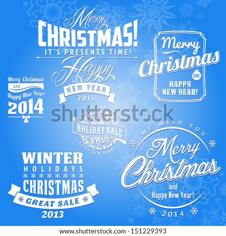 Christmas Card with calligraphic and typographic elements  - stock vector