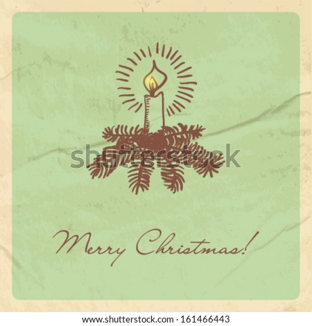Christmas card with candle and fir tree branches. Vector format for your design - stock vector