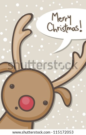 Christmas card with cartoon reindeer - stock vector