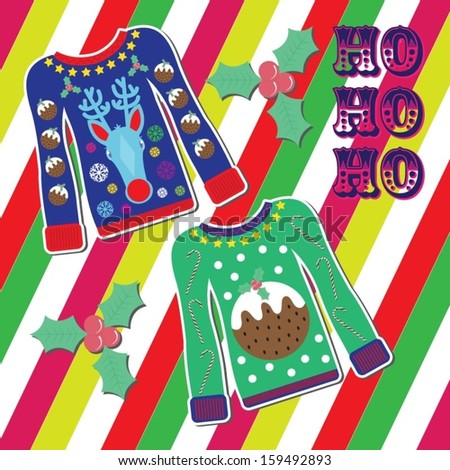 Christmas Card with Christmas Jumpers / Sweaters - stock vector